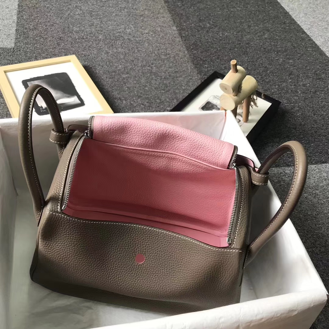 Hermès(爱马仕)CK18大象灰拼3Q新樱花粉 原厂御用顶级TC 皮 Lindy 30 银扣