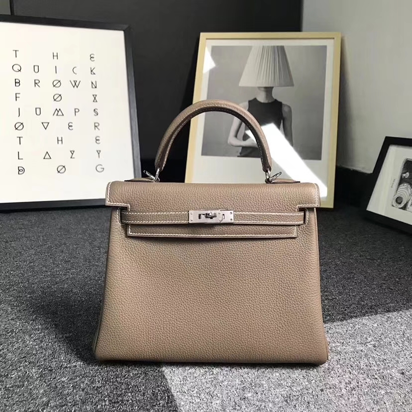 Hermès(爱马仕)CK18 大象灰 原厂御用顶级小牛皮 Kelly 25 银扣