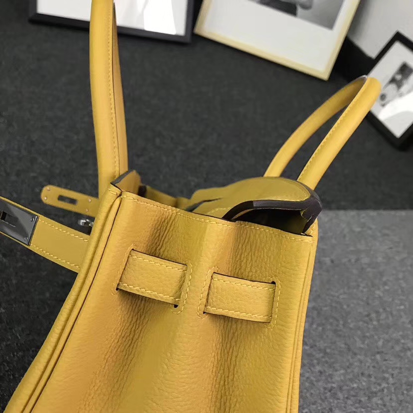 Hermès(爱马仕)9D琥珀黄 原厂御用顶级小牛皮 Birkin 30 银扣 现货