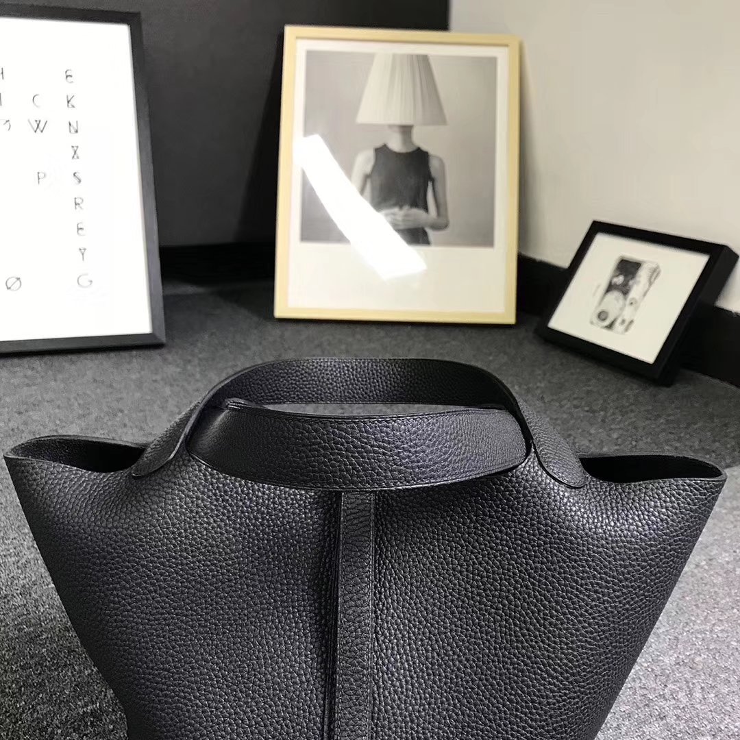 Hermès(爱马仕)黑色 原厂御用顶级TC 皮 Picotin  Lock 22cm 金扣 银扣 现货