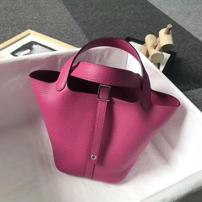 Hermès(爱马仕)L3 玫瑰紫色 原厂御用顶级TC皮 Picotin  Lock 18 CM 银扣
