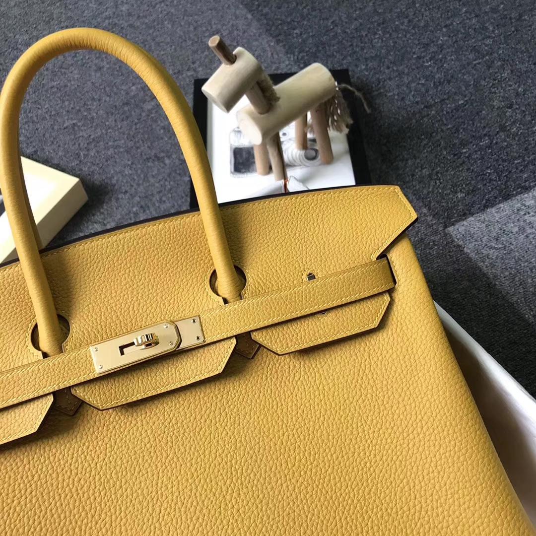 Hermès(爱马仕)9D琥珀黄 原厂御用顶级小牛皮 Birkin 35 金扣