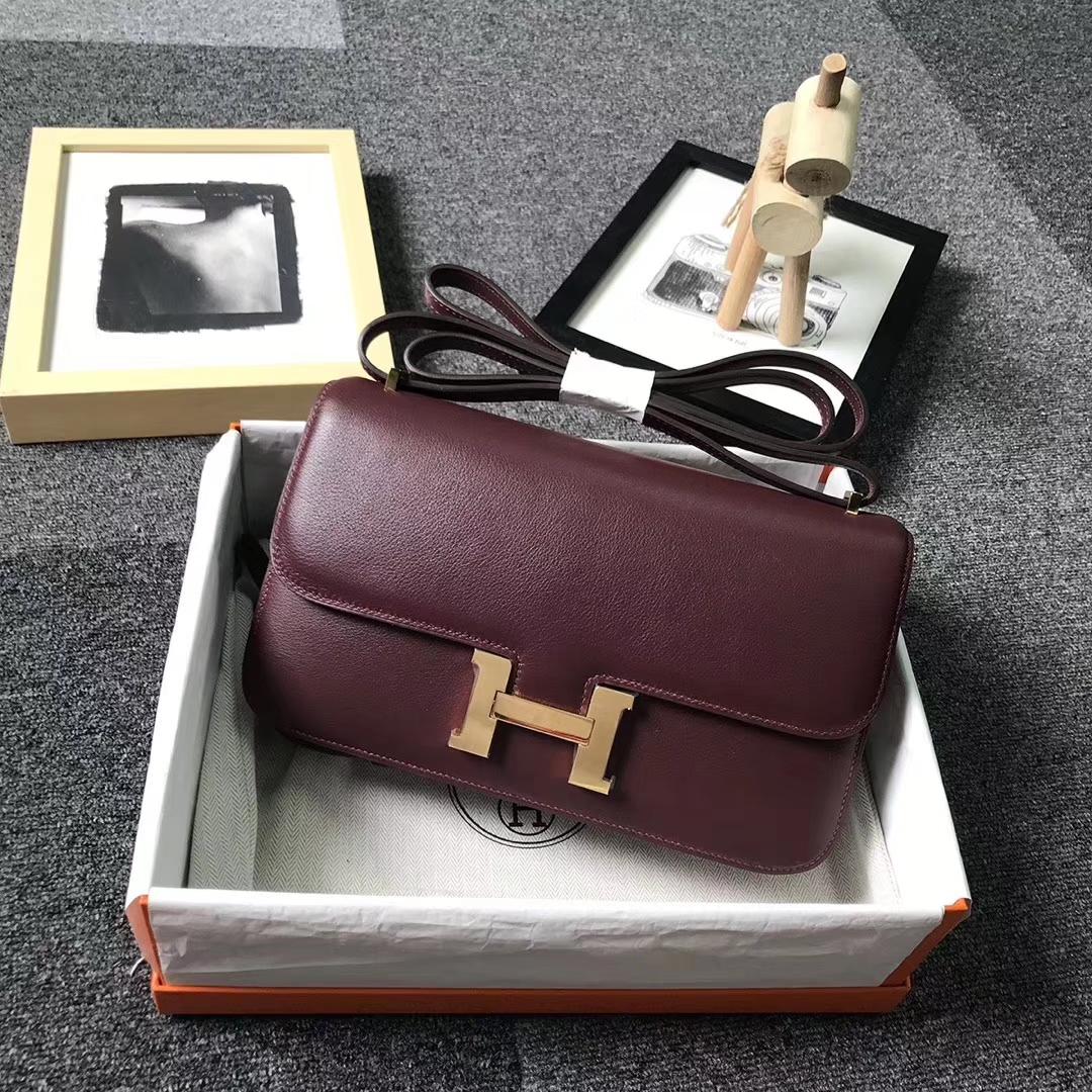 Hermès(爱马仕)酒红色 原厂御用顶级Swift 皮 Constance 26 金扣