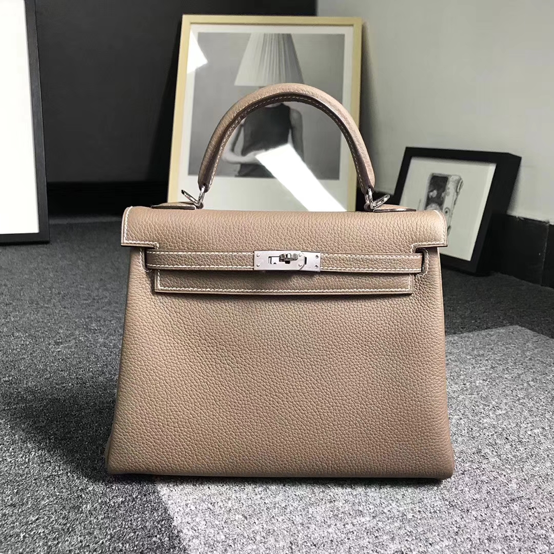Hermès(爱马仕)大象灰 原厂顶级togo小牛皮 Kelly25 银扣 现货