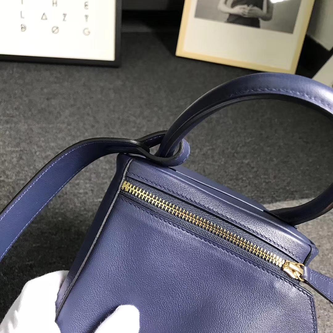 Hermès(爱马仕)午夜蓝拼罂粟橘色 原厂御用顶级Swift 皮 Lindy 30 金扣