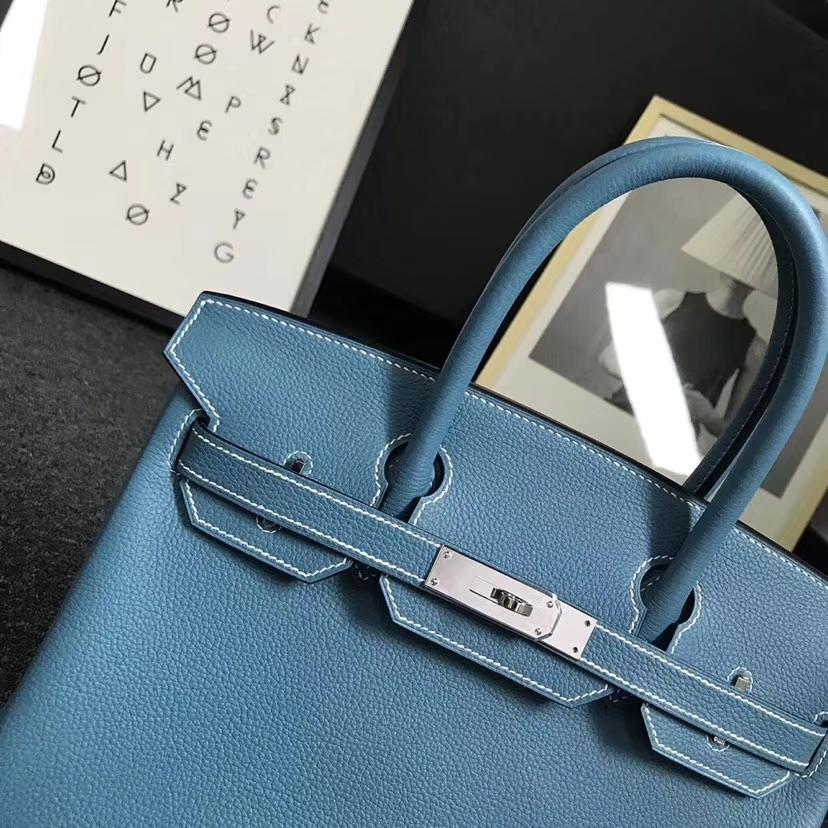Hermès(爱马仕)牛仔蓝 togo小牛皮 Birkin30 银扣 全手工 现货