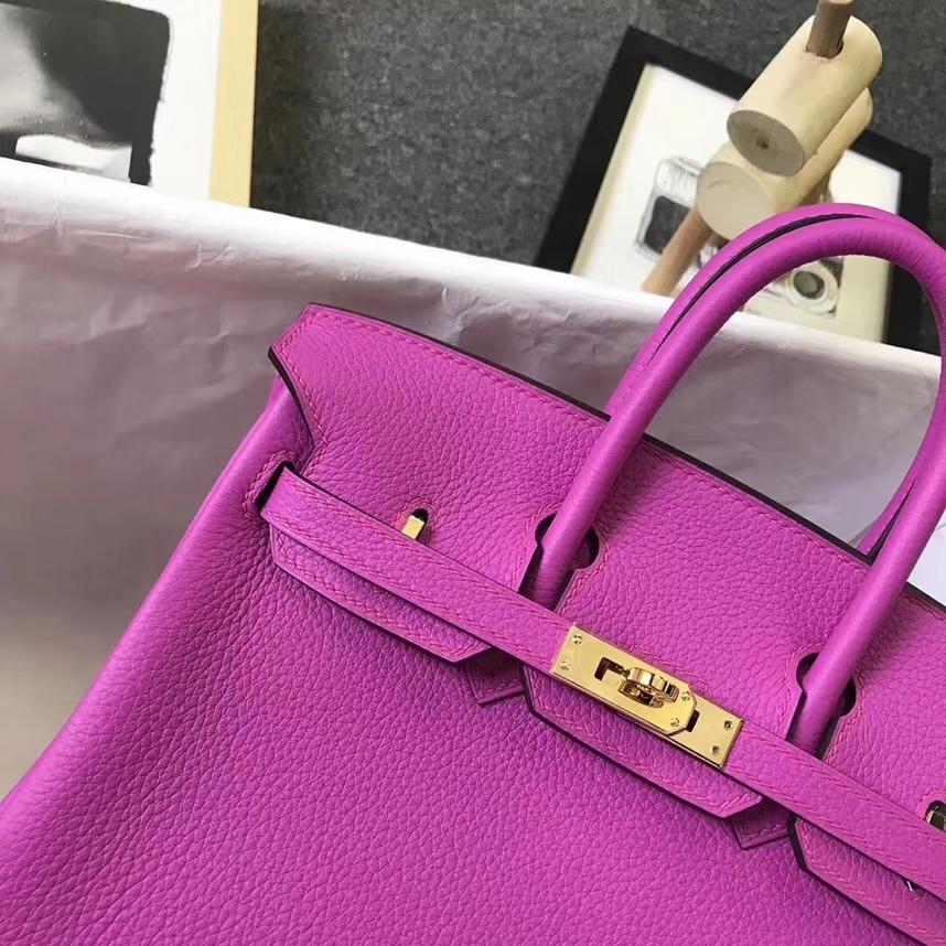 Hermès(爱马仕)9I 玉兰粉 原厂御用顶级小牛皮 Birkin 25 金扣 银扣 现货
