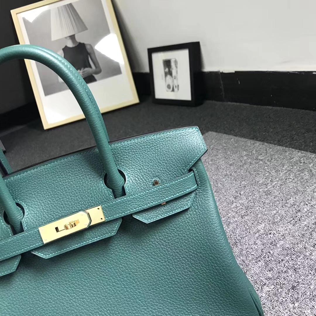 Hermès(爱马仕)孔雀绿 原厂御用顶级小牛皮 Birkin 30 金扣 现货