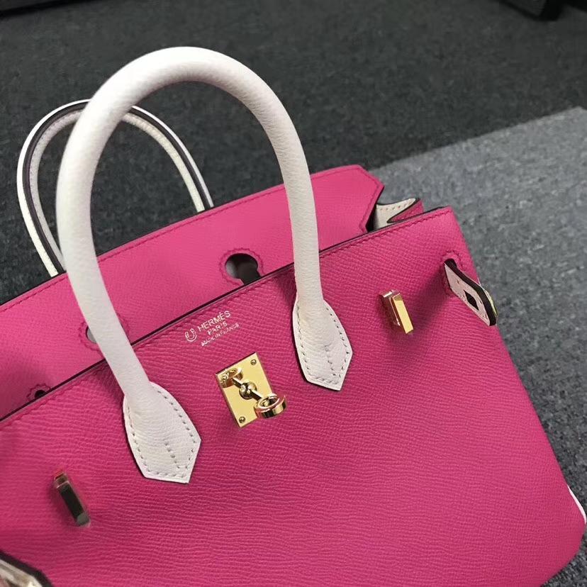 Hermès(爱马仕)E5 糖果粉拼奶昔白 原厂御用顶级Epsom 皮 Birkin 25 金扣 现货
