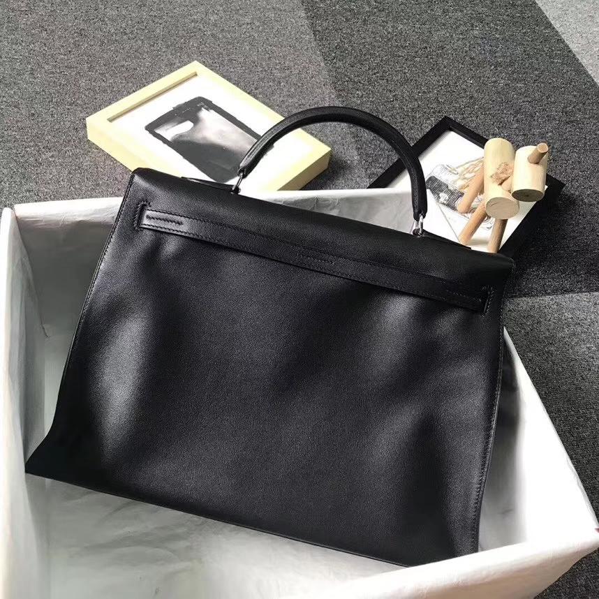 Hermès(爱马仕)黑色 原厂御用顶级Swift 皮 Kelly Flat 35 外缝 现货
