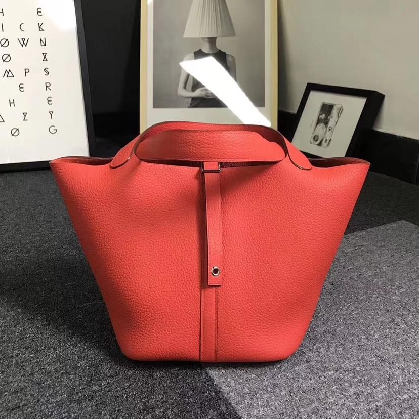 Hermès(爱马仕)火焰橙 原厂御用顶级TC 皮 Picotin  Lock 22cm 金扣