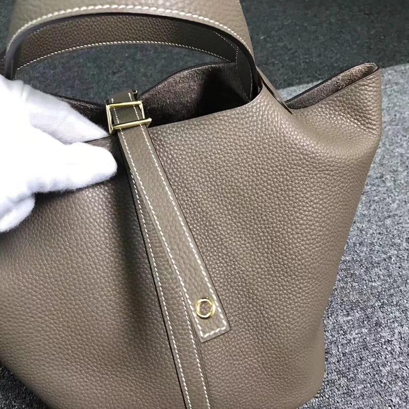 Hermès(爱马仕)大象灰 原厂御用顶级TC 皮 Picotin  Lock 22cm 金扣 银扣 现货
