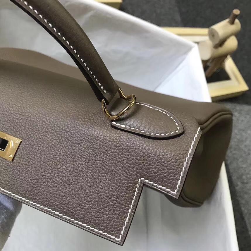 Hermès(爱马仕)CK18 大象灰 原厂御用顶级小牛皮 Kelly 28 金扣 银扣 现货
