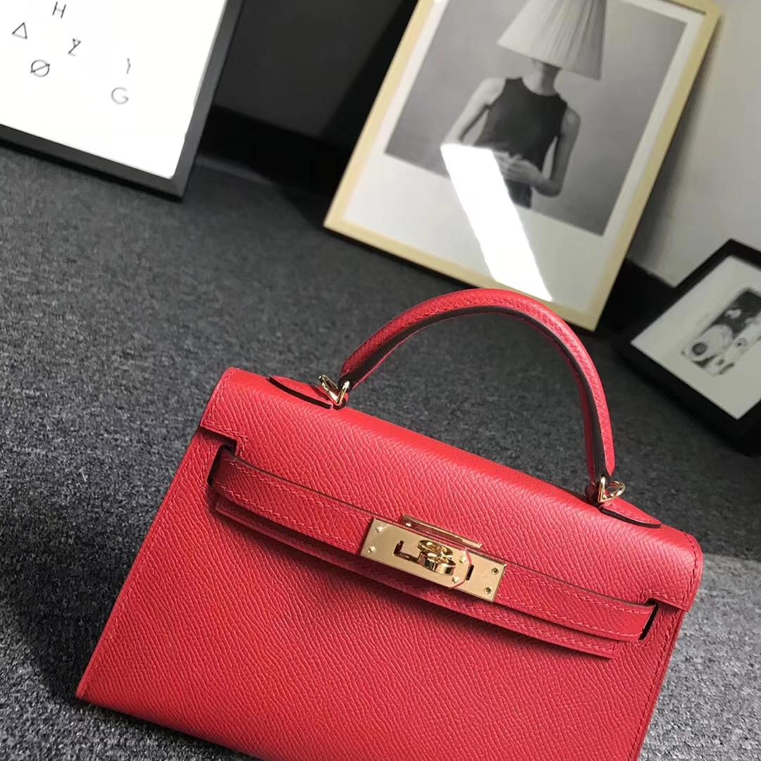 Hermès(爱马仕)Q5中国红 糖果红 原厂御用顶级Epsom 皮 Mini Kelly 二代 金扣 现货