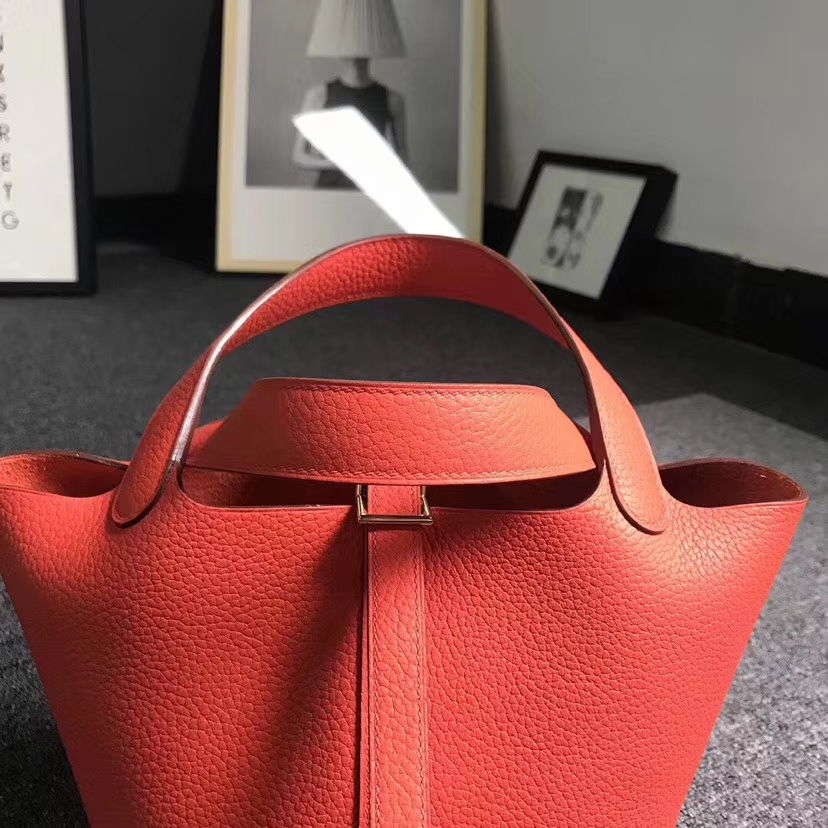 Hermès(爱马仕)火焰橙 原厂御用顶级TC 皮 Picotin  Lock 18cm 金扣