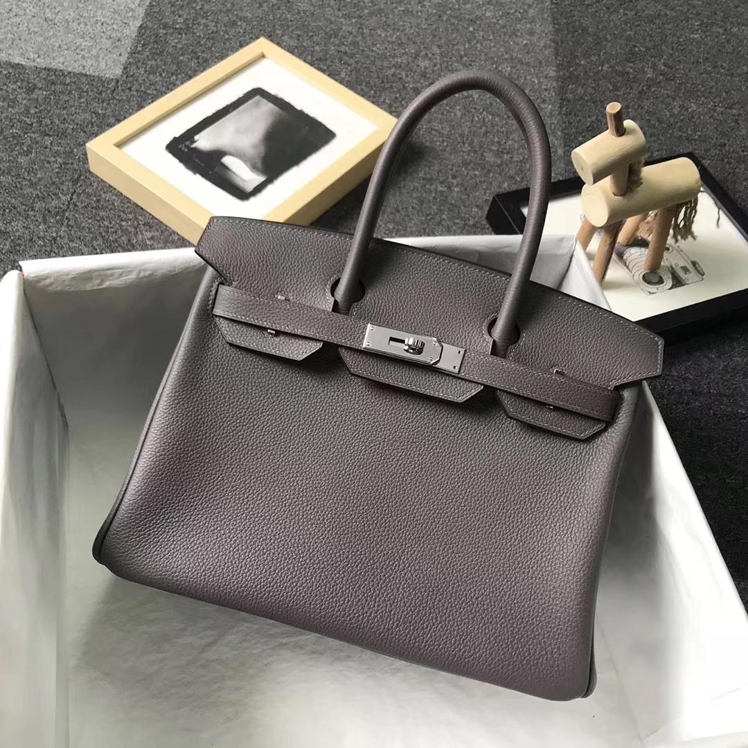 Hermès(爱马仕)8F锡器灰 原厂御用顶级小牛皮 Birkin 30 银扣