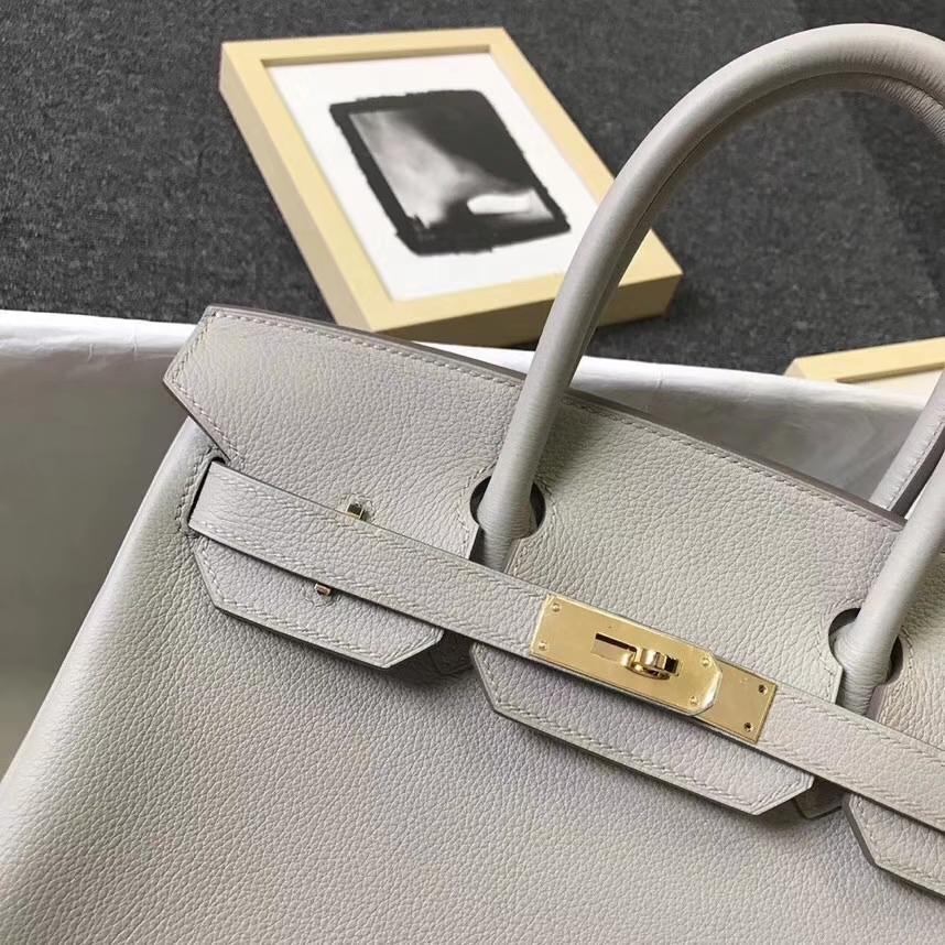 Hermès(爱马仕)C80 珍珠灰 原厂御用顶级小牛皮 Birkin 30 金扣