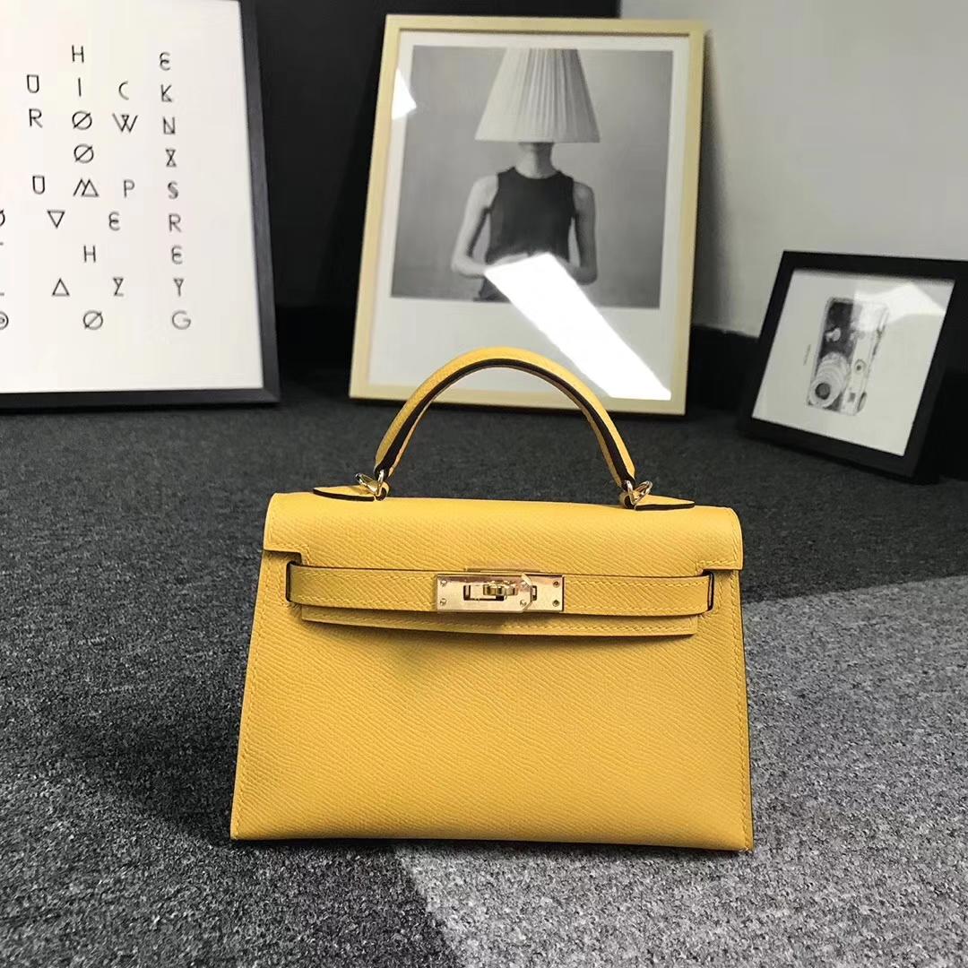 Hermès(爱马仕)9D琥珀黄 原厂御用顶级Epsom 皮 Mini Kelly 二代 金扣 现货