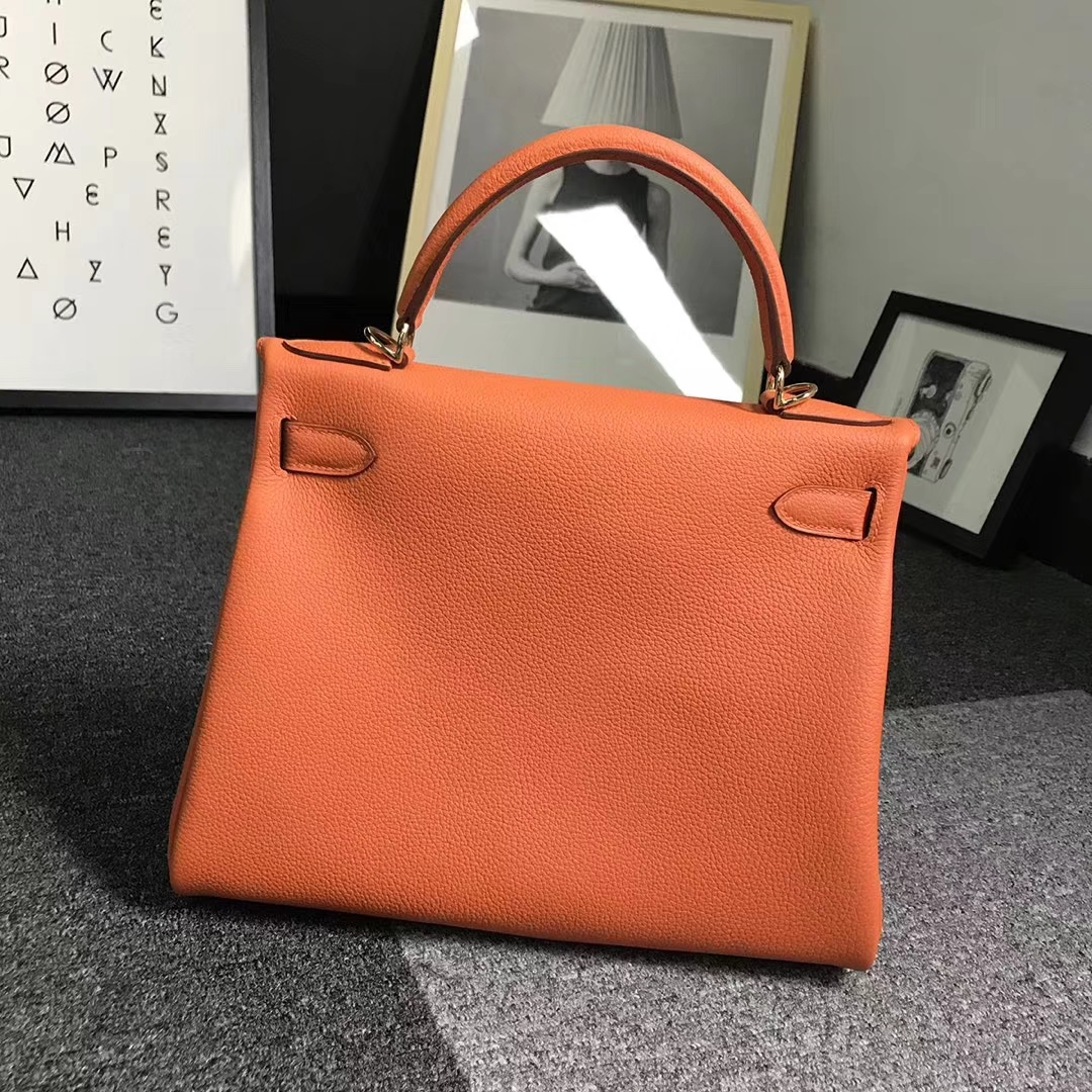 Hermès(爱马仕)93经典橙色 原厂御用顶级小牛皮 Kelly 28 金扣