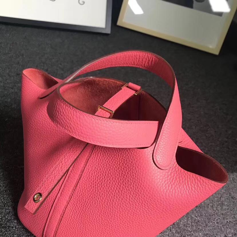 Hermès(爱马仕)8W新唇膏粉 原厂御用顶级TC 皮 Picotin  Lock 18cm 银扣 现货