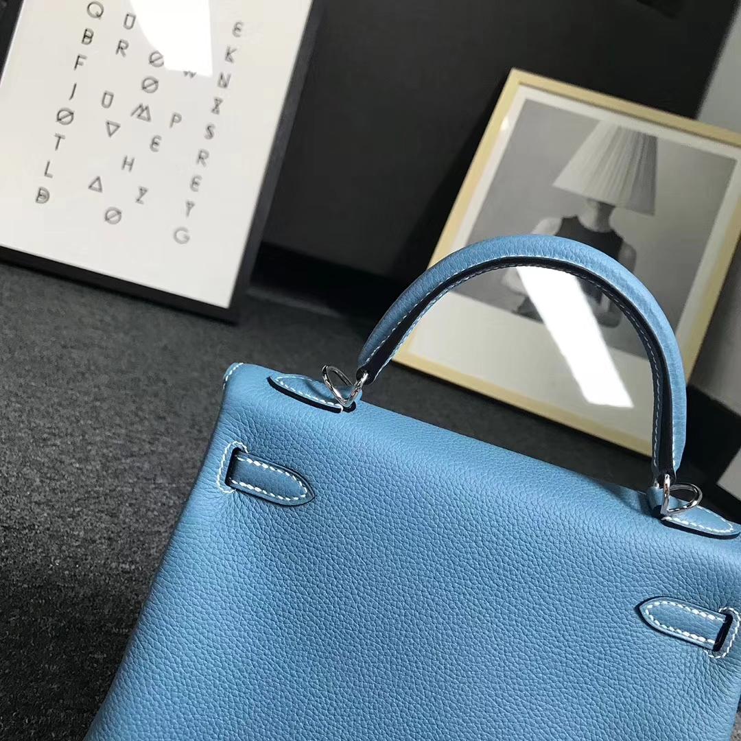 Hermès(爱马仕)牛仔蓝 原厂御用顶级小牛皮 Kelly25 银扣