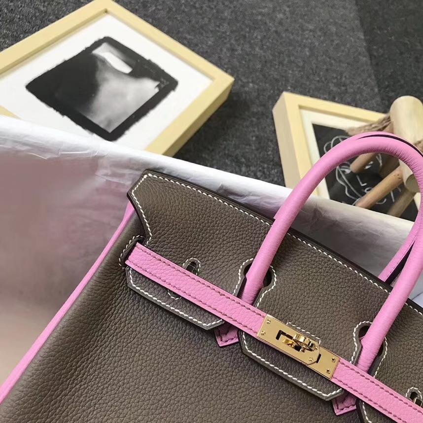 Hermès(爱马仕)大象灰拼5P樱花粉 原厂御用顶级小牛皮  Birkin 25 金扣