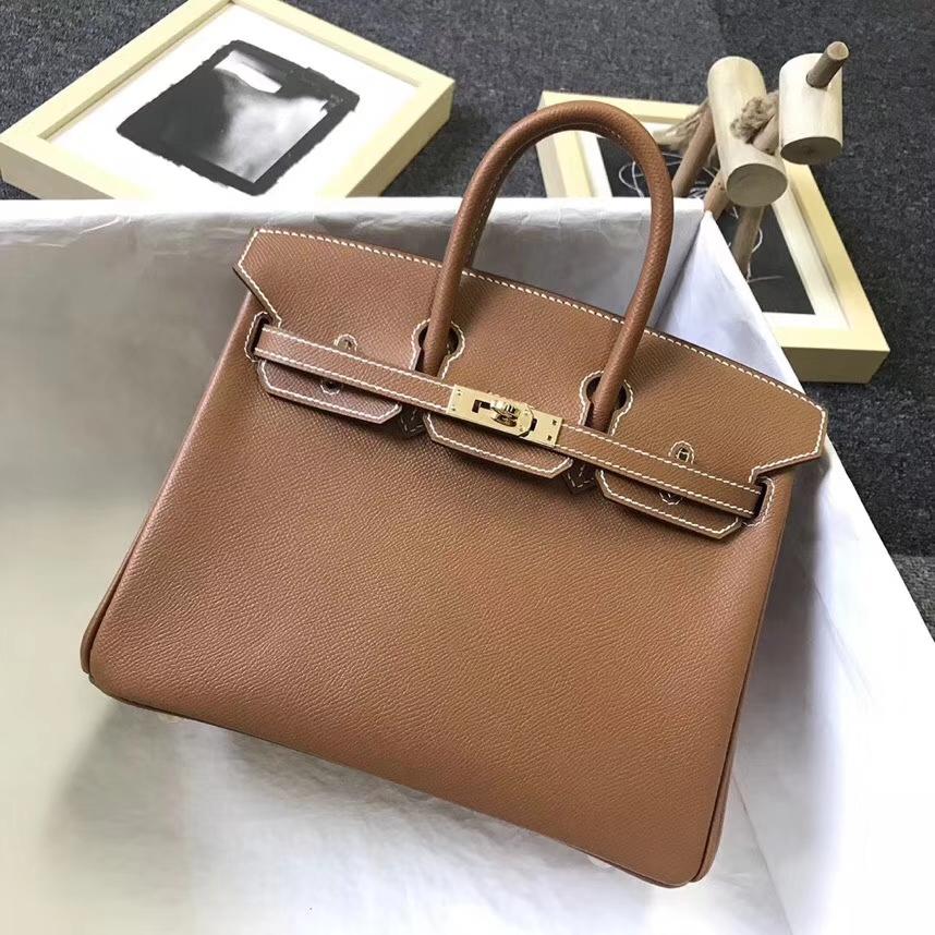 Hermès(爱马仕)金棕色 原厂御用顶级Epsom 皮 Birkin 25 金扣