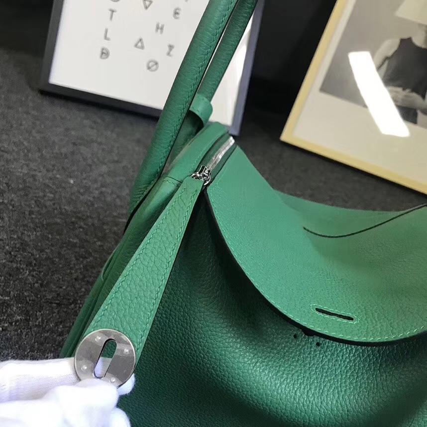 Hermès(爱马仕)U4 丝绒绿 原厂御用顶级小牛皮 Lindy 26 银扣