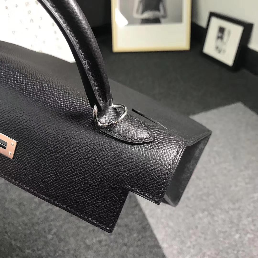 Hermès(爱马仕)黑色 原厂御用顶级Epsom 皮 Kelly 25 外缝 金扣 银扣  现货