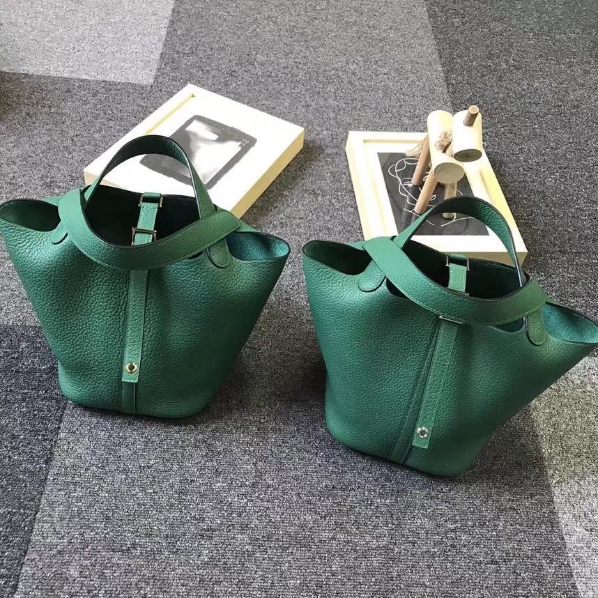 Hermès(爱马仕)U4 丝绒绿 原厂御用顶级TC皮 Picotin  Lock 18CM 银扣