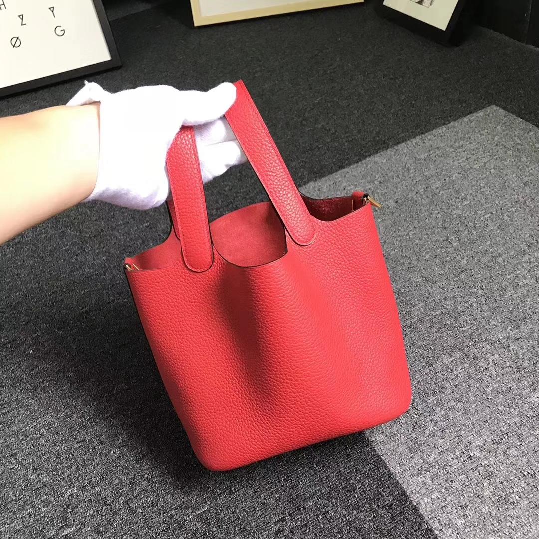 Hermès(爱马仕)番茄红 原厂御用顶级TC 皮 Picotin  Lock 18 cm 金扣