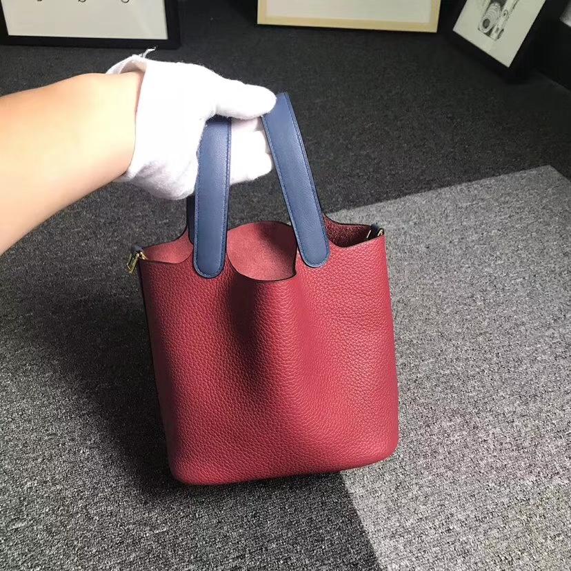 Hermès(爱马仕)石榴红拼玛瑙蓝 原厂御用顶级TC 皮 Picotin  Lock 18cm 金扣