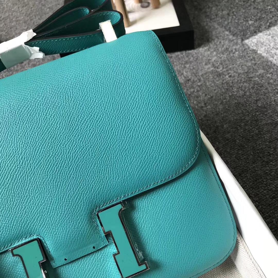 Hermès(爱马仕)7F孔雀蓝内拼薄荷绿 原厂御用顶级Epsom 皮 Constance 24 孔雀蓝珐琅扣