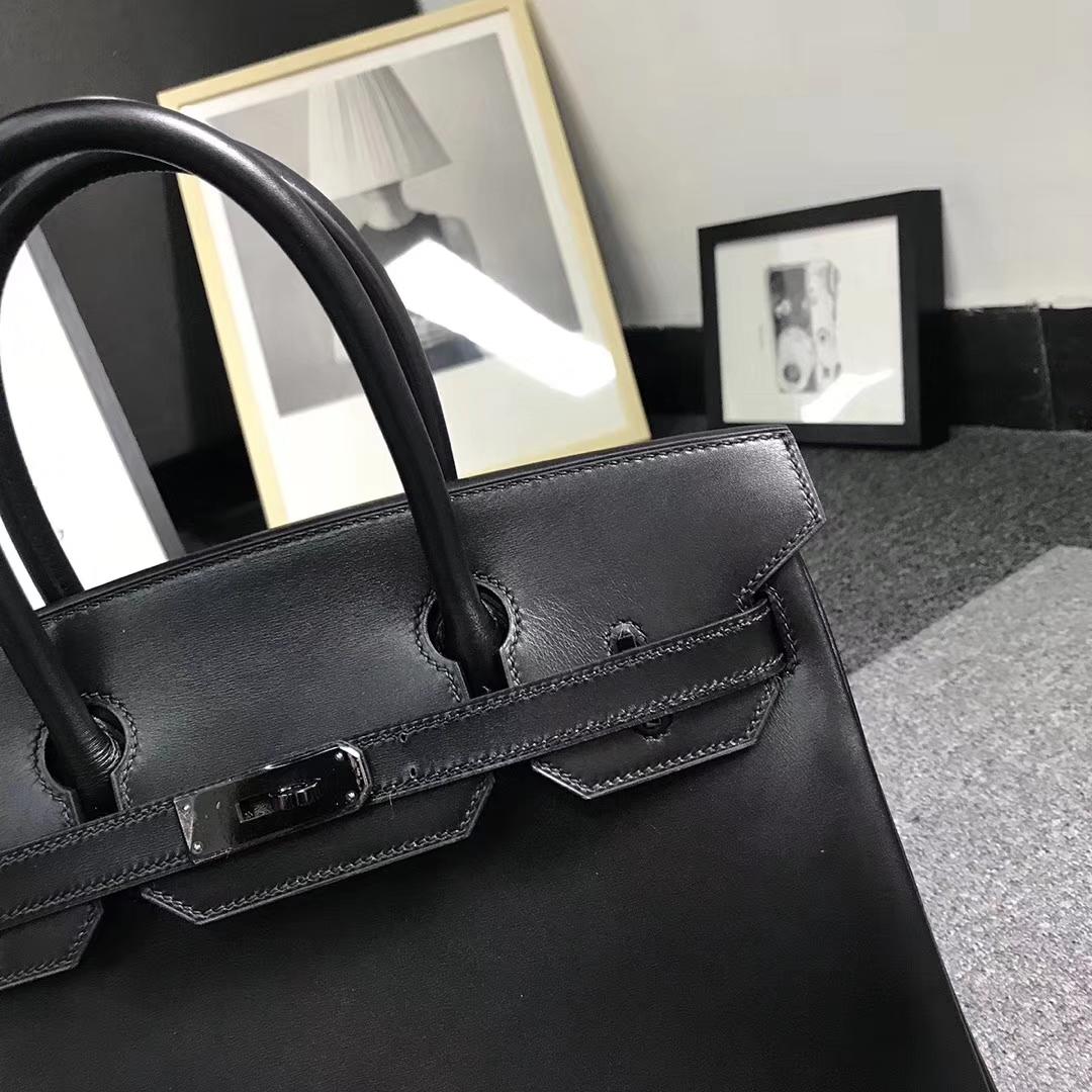 Hermès(爱马仕)黑色 原厂御用顶级Box 皮 Birkin 30 黑色扣 So Black