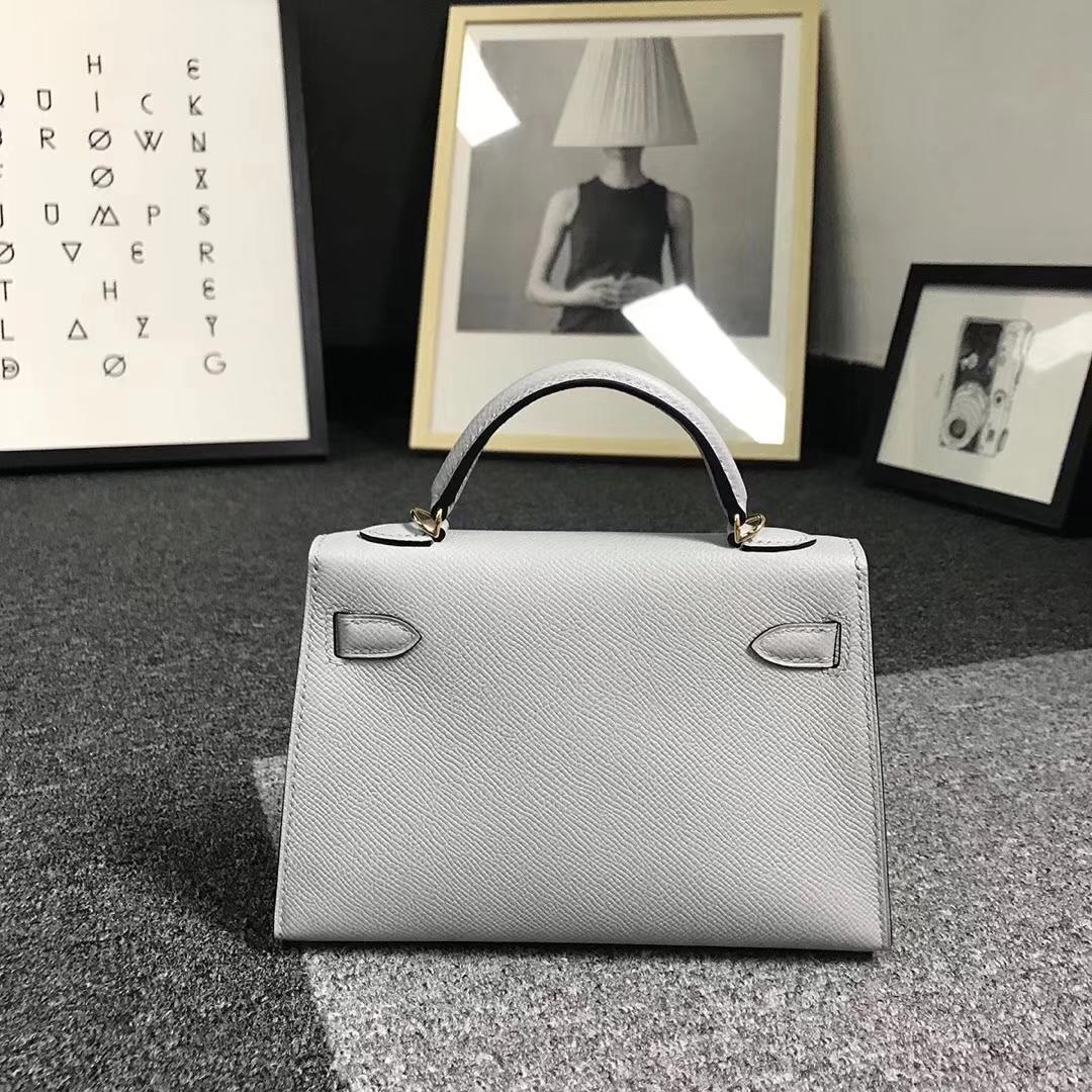 Hermès(爱马仕)8U冰川蓝 原厂御用顶级Epsom 皮 Mini Kelly 二代 金扣 现货