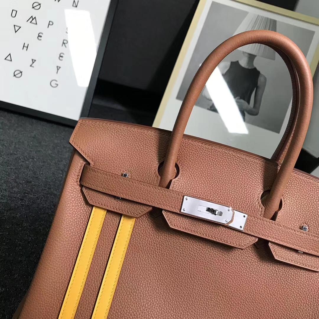 Hermès(爱马仕)新拼色 金棕色顶级小牛皮拼琥珀黄Swift 皮 Birkin 30 银扣