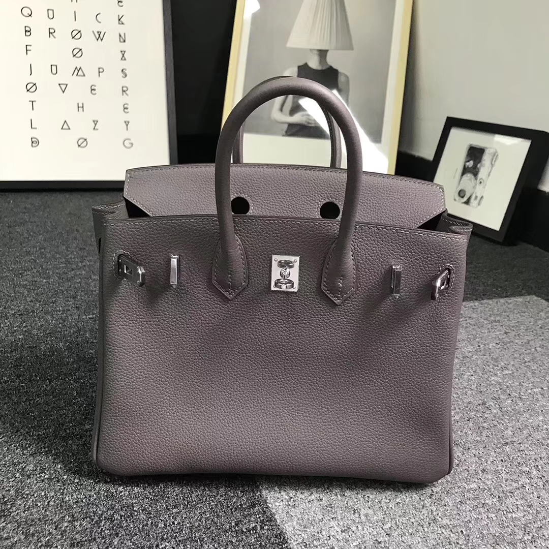 Hermès(爱马仕)8F锡器灰 原厂御用顶级小牛皮 Birkin 25 银扣 现货