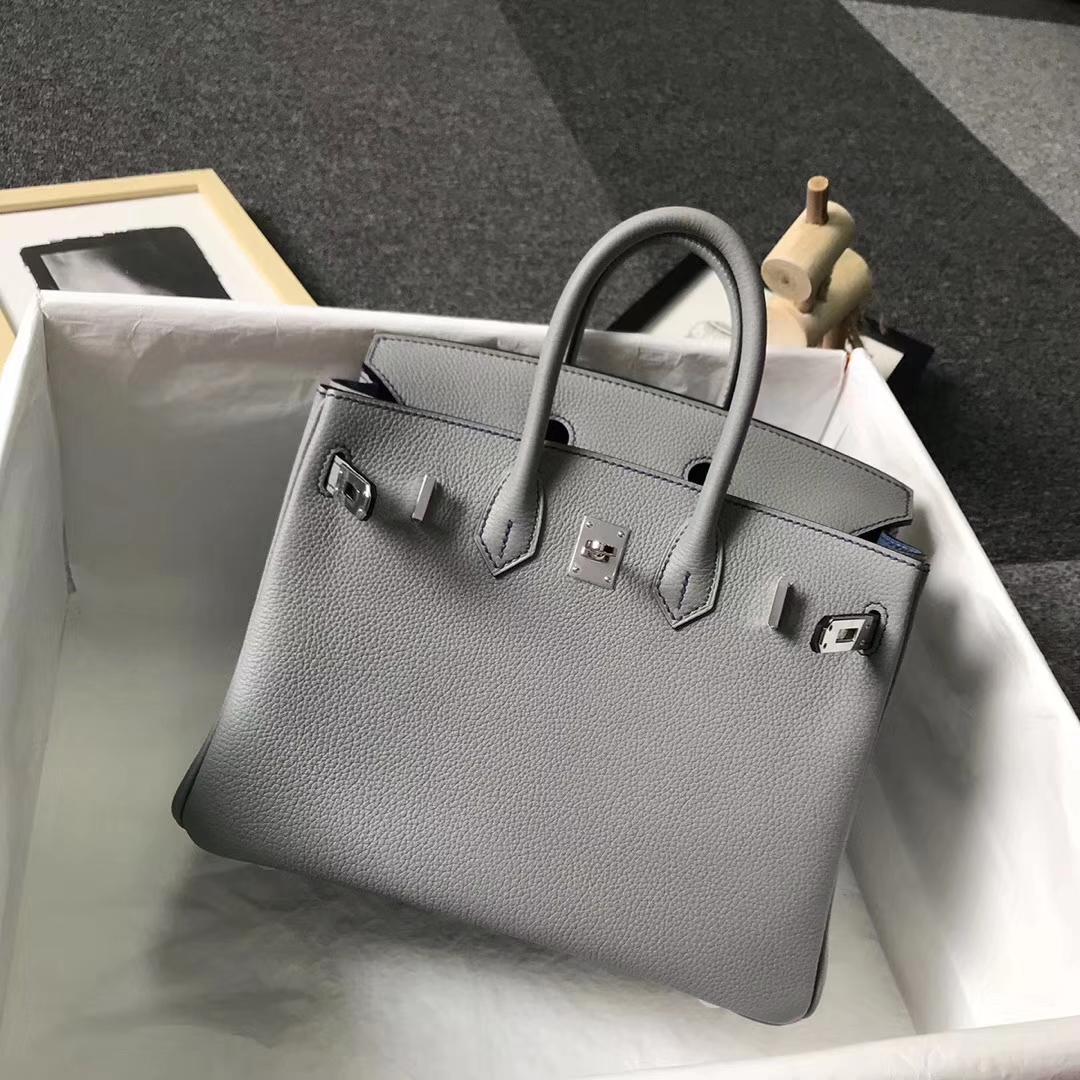 Hermès(爱马仕)4Z海鸥灰内拼玛瑙蓝 原厂御用顶级小牛皮 Birkin 25 银扣