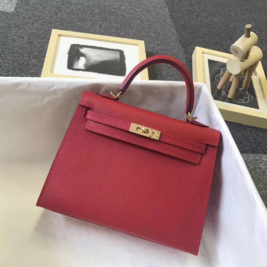 Hermès(爱马仕)Q5 中国红 糖果红 原厂御用顶级Epsom 皮 Kelly 25 外缝 金扣 现货