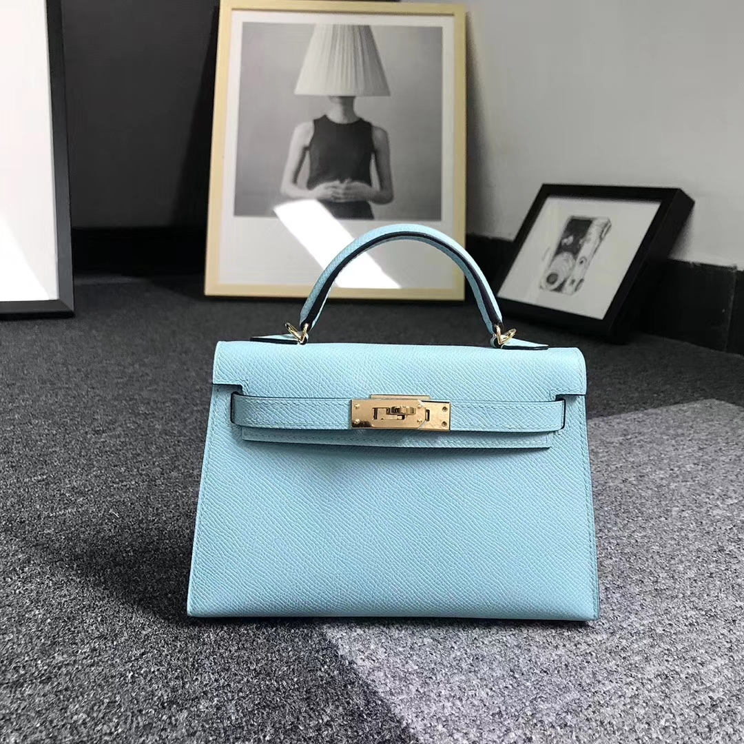 Hermès(爱马仕)3P马卡龙蓝 原厂御用顶级Epsom 皮 Mini Kelly 二代 金扣