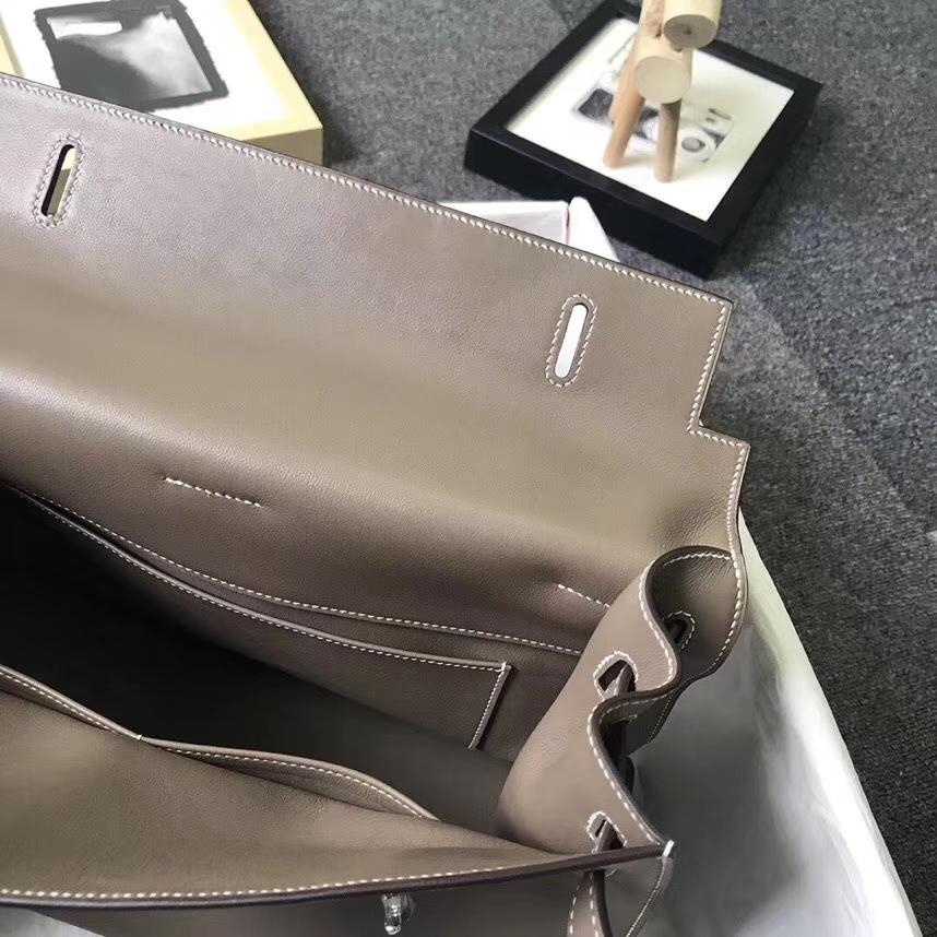 Hermès(爱马仕)大象灰 原厂御用顶级Swift 皮 Kelly Flat 35 外缝 现货