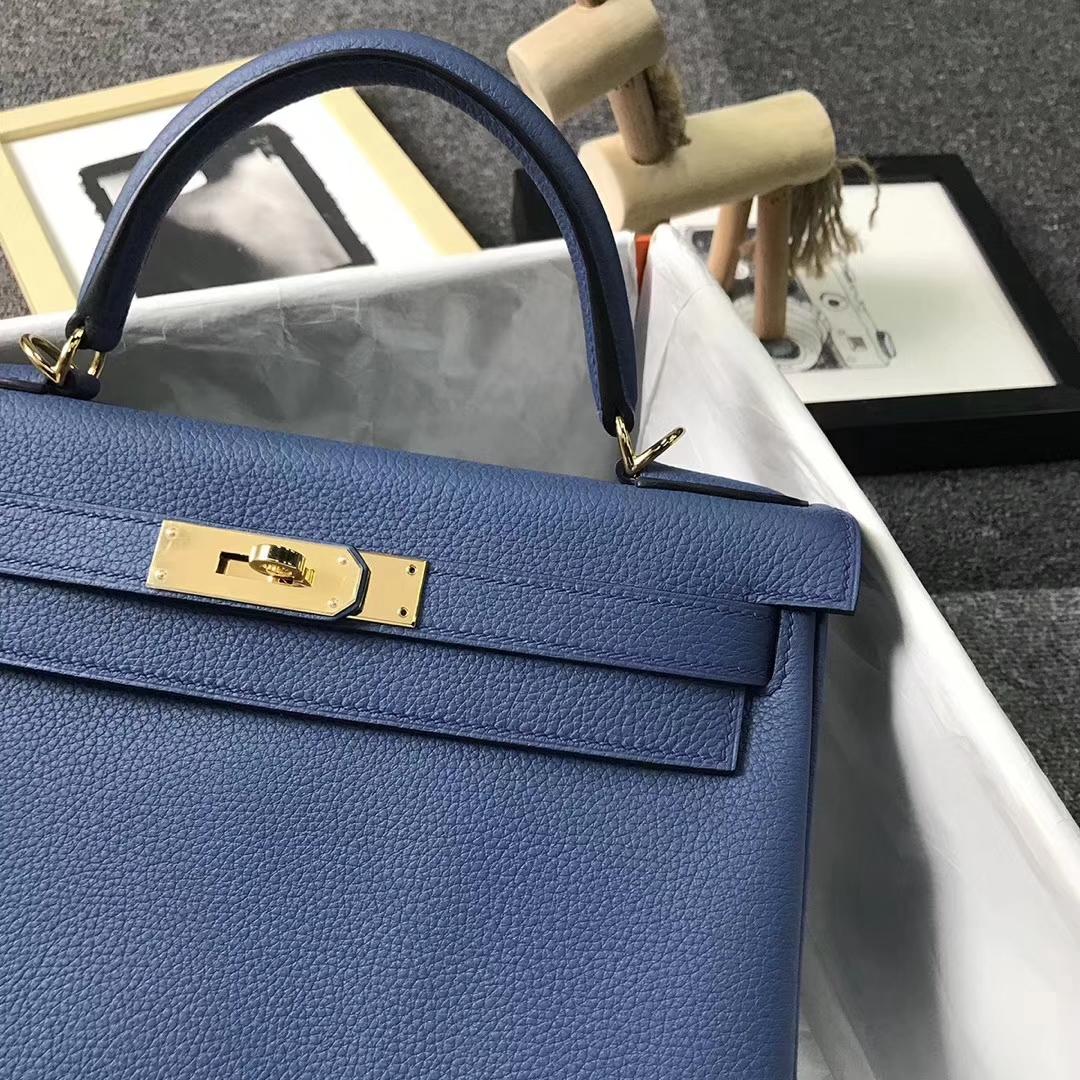 Hermès(爱马仕)玛瑙蓝 原厂御用顶级小牛皮 Kelly 28 金扣 现货