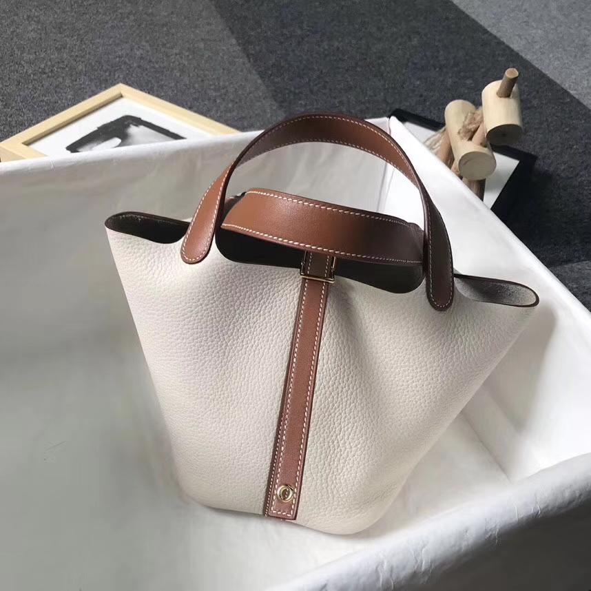 Hermès(爱马仕)奶昔白拼金棕色 原厂御用顶级TC皮 Picotin  Lock 18 CM 银扣