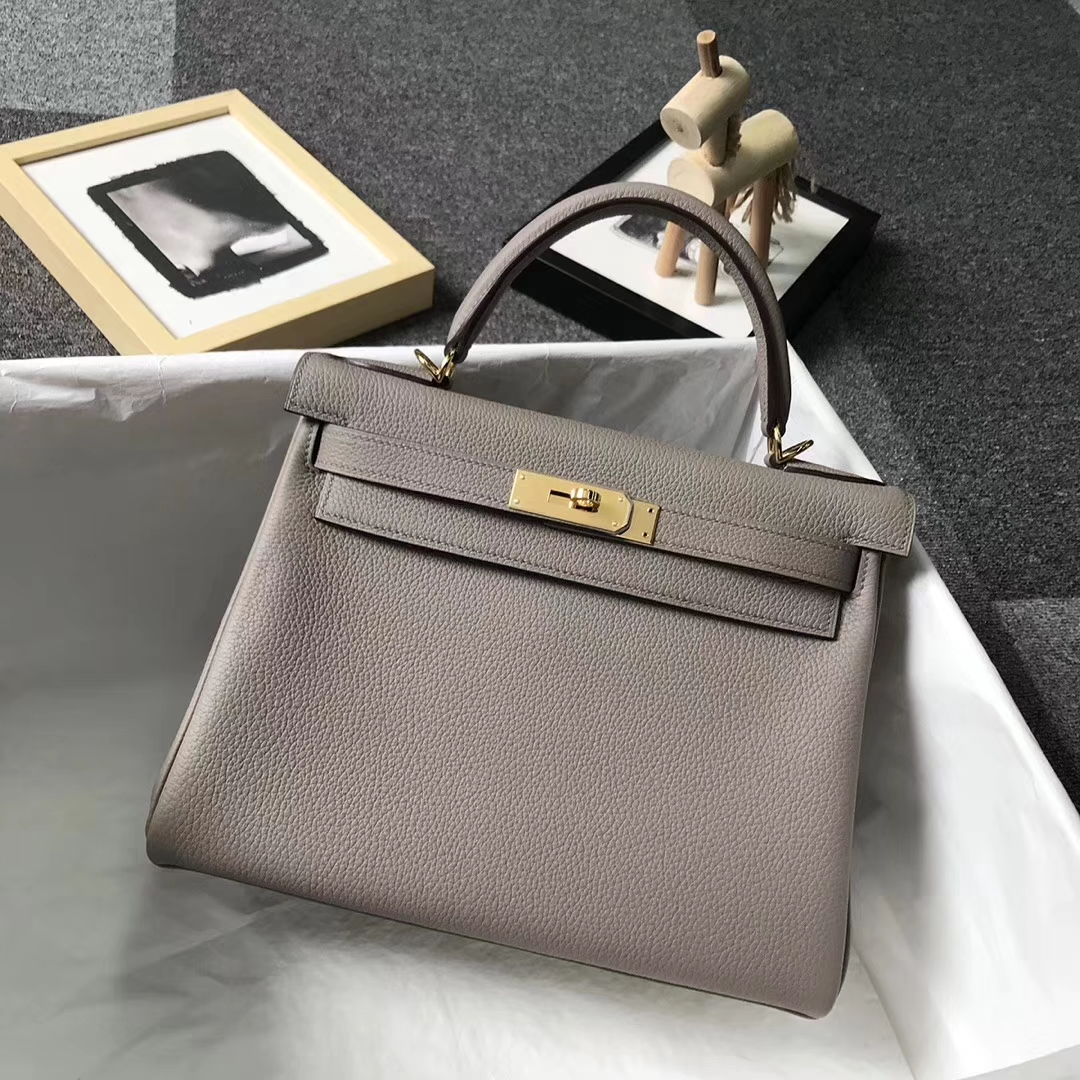 Hermès(爱马仕)M8 沥青灰 原厂御用顶级小牛皮 Kelly 28 金扣 银扣 现货