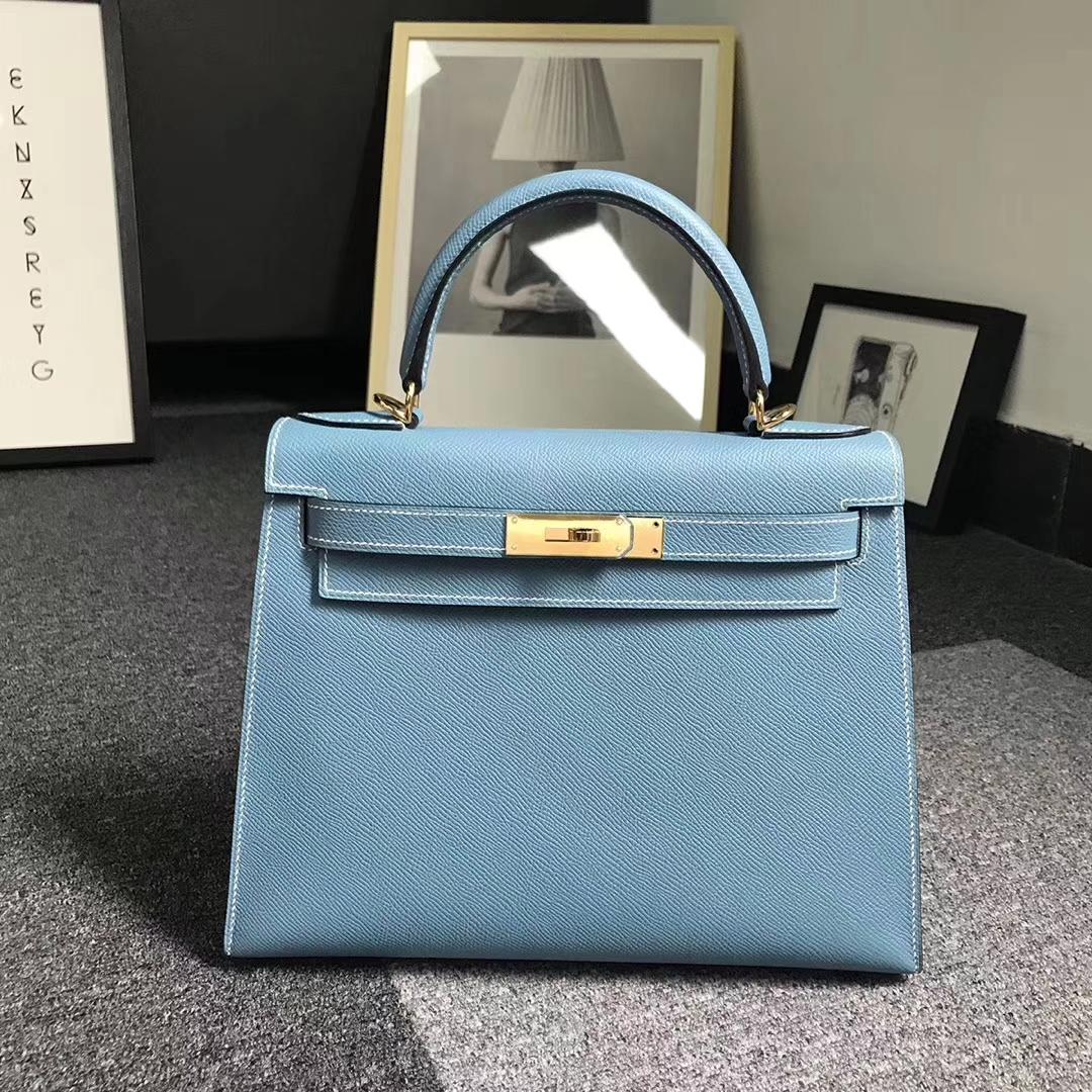 Hermès(爱马仕)牛仔蓝 原厂御用顶级Epsom 皮 Kelly 28 外缝 金扣