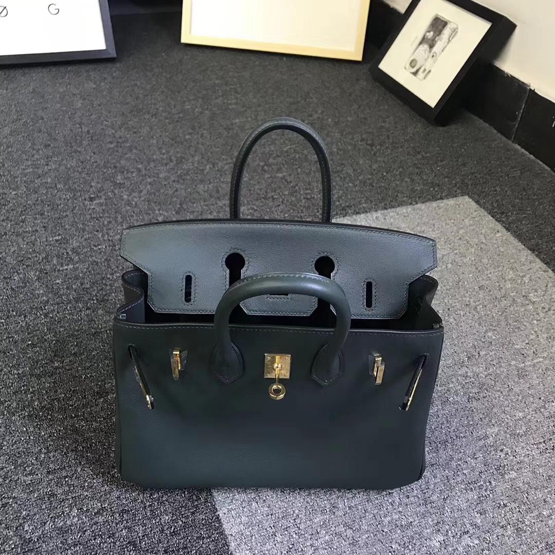 Hermès(爱马仕)2Q英国绿 原厂御用顶级Swift 皮 Birkin 25 金扣