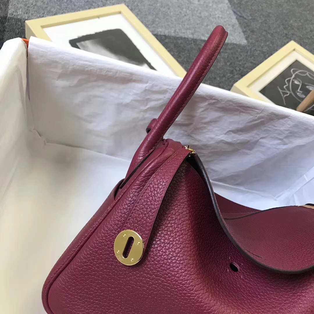 Hermès(爱马仕)K1 石榴红 原厂御用顶级TC 皮 Lindy 26 金扣