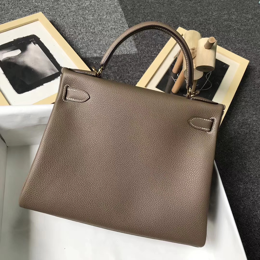 Hermès(爱马仕)CK18 大象灰 原厂御用顶级小牛皮 Kelly 28 金扣 现货