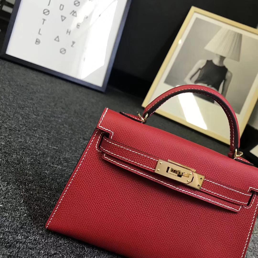 Hermès(爱马仕)Q5 中国红 白色线 原厂御用顶级Epsom 皮 Mini Kelly 二代 金扣 现货