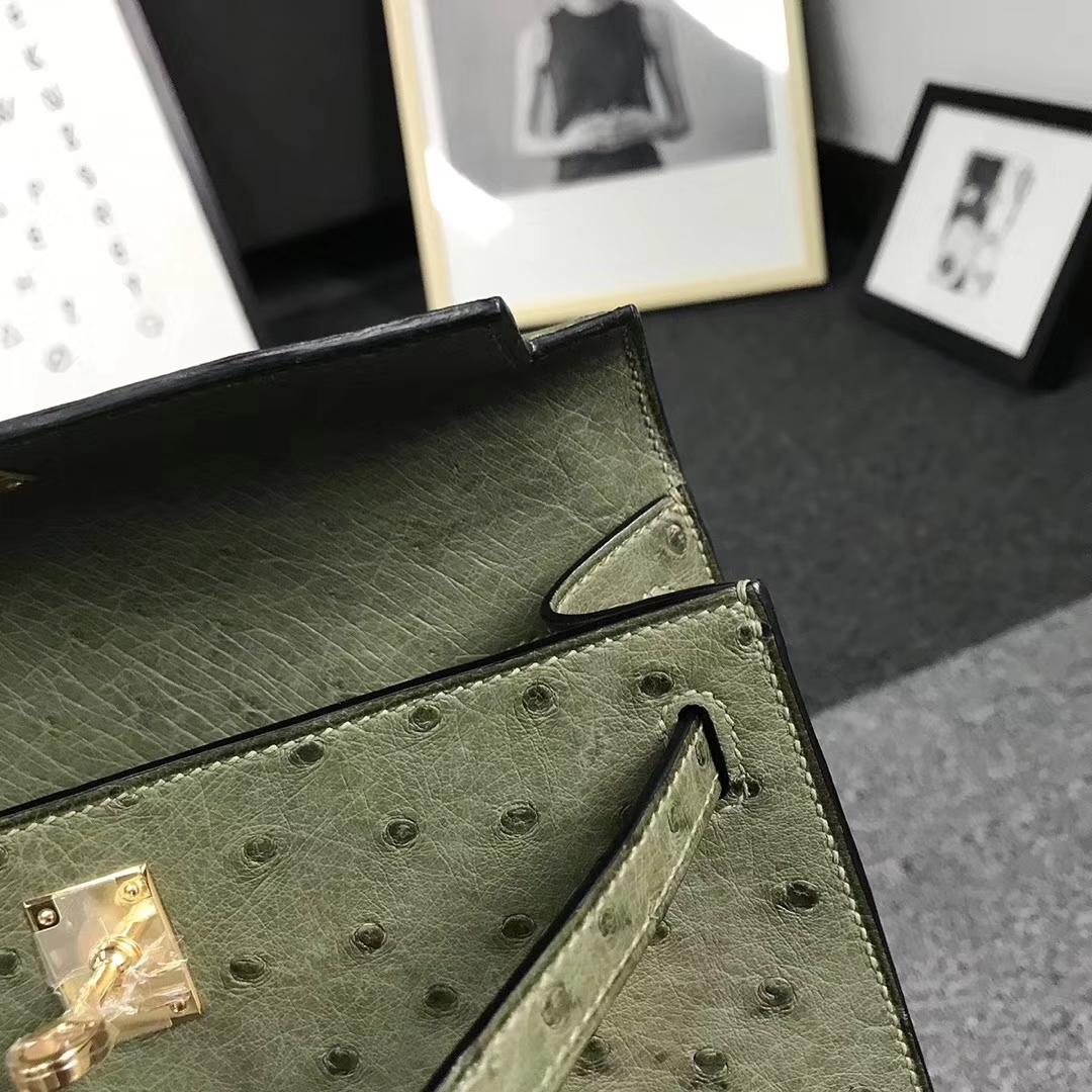 Hermès(爱马仕)丛林绿 原厂御用顶级鸵鸟皮 Mini Kelly
